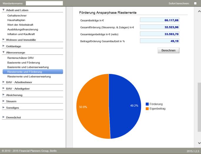 AVP finance tools Riesterberechnung